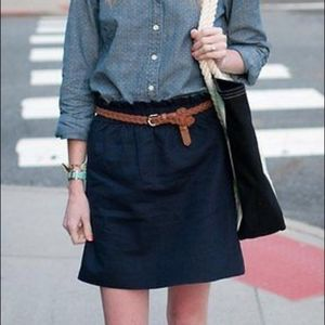J.crew navy blue linen blend skirt